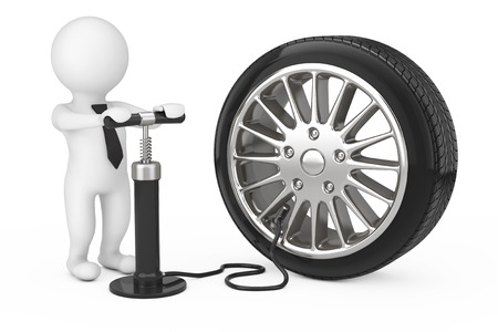 3d Person with Black Hand Air Pump Inflates Car Wheel on a white background. 3d Rendering. Banco de Imagens