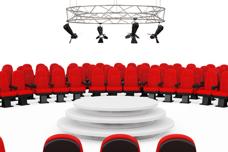 Red Cinema Movie Theater Comfortable Chairs around Metal Modern Stage Spotlight Construction with Podium on a white background. 3d Rendering