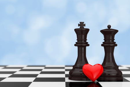 Love Concept. Chess King and Queen Figures with Red Heart over Chessboard on a blue background. 3d Rendering