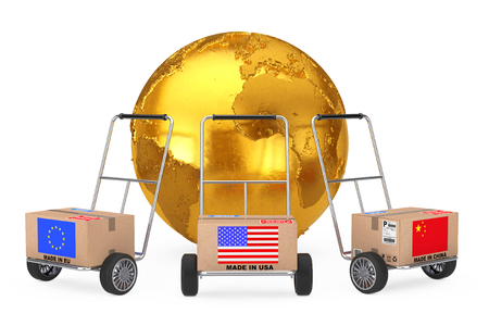 Cardboard Box with China, USA and EU Flag over Hand Truck near Golden Earth Globe on a white background. 3d Rendering