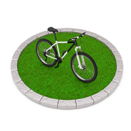 Black and White Mountain Bike over Round Plot of Dense Green Grass on a white background. 3d Rendering  Stock Photo