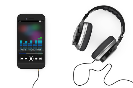 Headphones near Mobile Phone with Music Playlist on a white background. 3d Rendering. Zdjęcie Seryjne