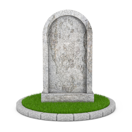 Gravestone with Blank Space fot Yours Sign on a white background. 3d Rendering  Stock Photo
