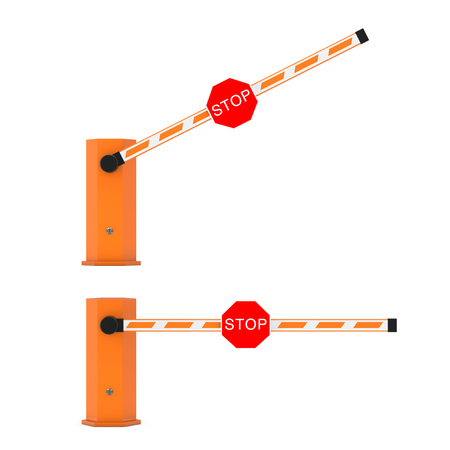 Road Car Barrier with Stop Sign on a white background. 3d Rendering