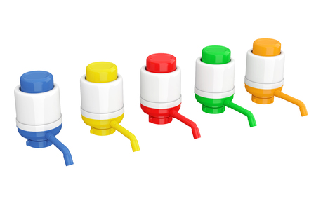 Colorful Manual Water Pumps for Water Bottles on a white background. 3d Rendering.