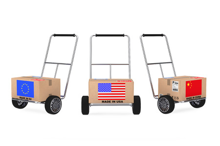 Cardboard Box with China, USA and EU Flag over Hand Truck on a white background. 3d Rendering