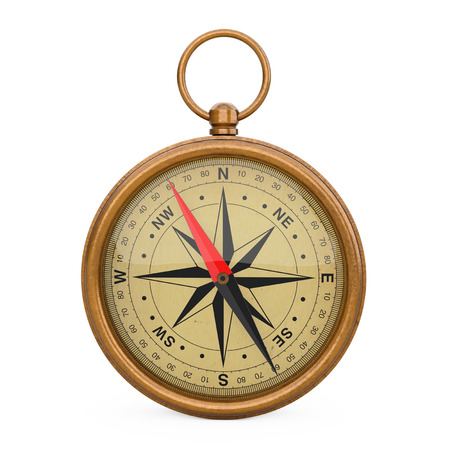 Glossy Bronze Vintage Compass with Windrose on a white background. 3d Rendering