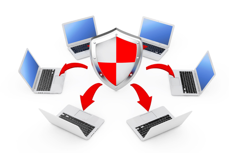 Laptops Arranged in a Circle Around a Protective Shield with Glowing Red Arrows Connections on a white background. 3d Rendering
