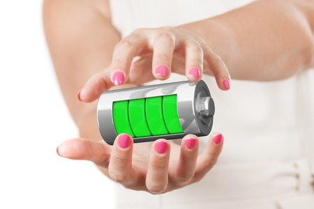 Two Woman Hands Protecting Abstract Charging Battery with Charge Levels on a white background. 3d Rendering  Stock Photo
