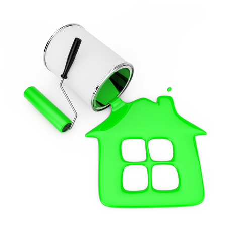 Paint Roller near Green Paint Pouring from Paint Can in House Silhouette on a white background. 3d Rendering