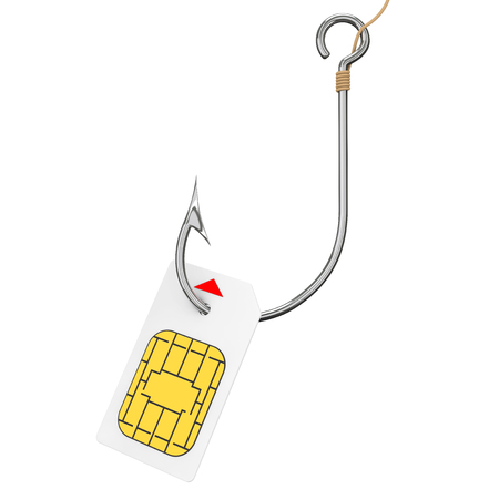 Sim Card with Fishing Hook on a white background. 3d Rendering