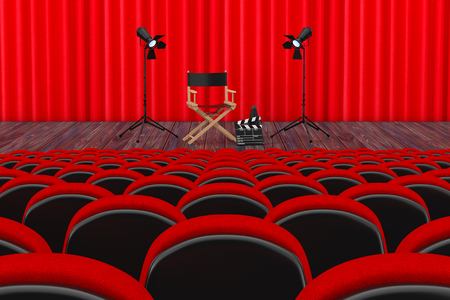 Rows of Red Cinema or Theater Seats in front of Cinema or Theater Scene with Red Curtain and Director Chair, Movie Clapper and Spotlights extreme closeup. 3d Rendering