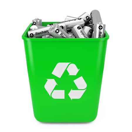 Heap of Rechargeable Batteries in Green Bucket with Recycle Sign on a white background. 3d Rendering