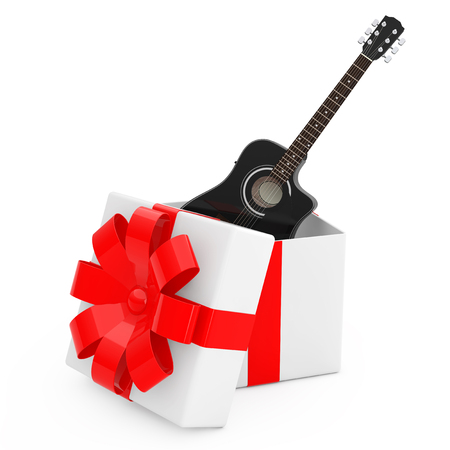 Black Wooden Acoustic Guitar Come Out of the Gift Box with Red Ribbon on a white background. 3d Rendering