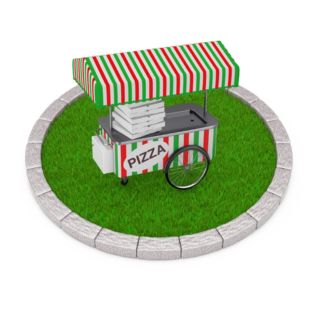Pizza Trolley Cart over Round Plot of Dense Green Grass on a white background. 3d Rendering  Stock Photo