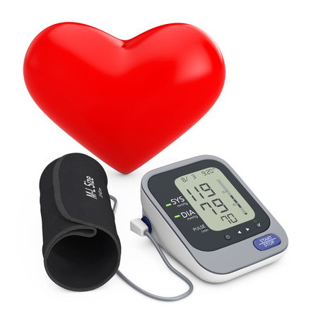 Red Heart near Modern Digital Blood Pressure Measurement Monitor Equipment on a white background. 3d Rendering  Stock Photo