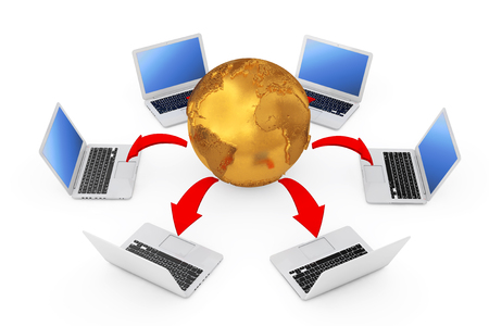 Laptops Arranged in a Circle Around Golden Earth Globe with Glowing Red Arrows Connections on a white background. 3d Rendering  Stock Photo