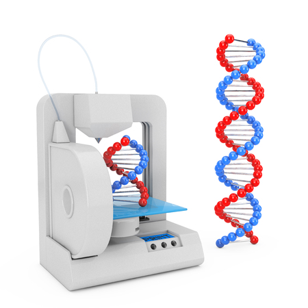 3d Printer Print the New DNA Molecules on a white background. 3d Rendering