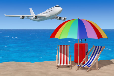 Vacation Concept. Airplane Flying to Beach Chairs with Umbrella and Suitcase on the Sand Sunny Beach on an ocean and Blue Sky background. 3d Rendering.