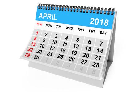 2018 year calendar. April calendar on a white background. 3d Rendering