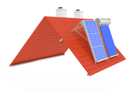 Solar Water Heater and Solar Panel Installed on a Red Roof on a white background. 3d Rendering Stockfoto - 96325821