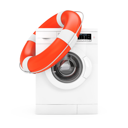 Modern White Washing Machine with Life Buoy on a white background. 3d Rendering  Stock Photo