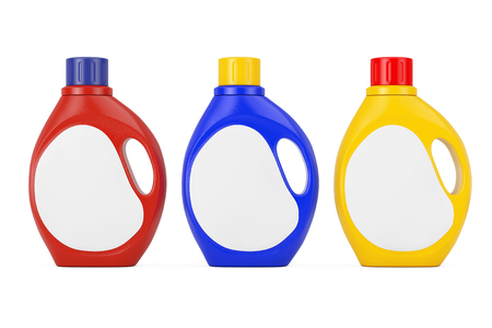 Colored Plastic Detergent Container Bottles with Blank Space Label for Yours Design on a white background. 3d Rendering