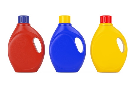 Colored Plastic Detergent Container Bottles with Blank Space for Yours Design on a white background. 3d Rendering