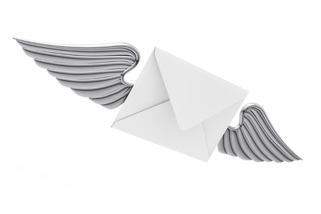 Flying White Envelope Letter with Silver Wing on a white background. 3d Rendering  Stock Photo