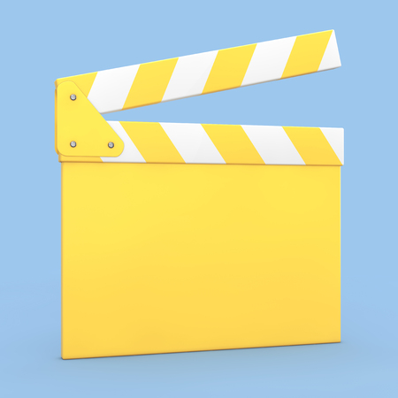 Cartoon Yellow Cinema Movie Clapper or Clapboard on a blue background. 3d Rendering