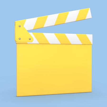 Cartoon projecteur de cinéma jaune de bande ou schématique sur un fond bleu. rendu 3d Banque d'images - 96325373
