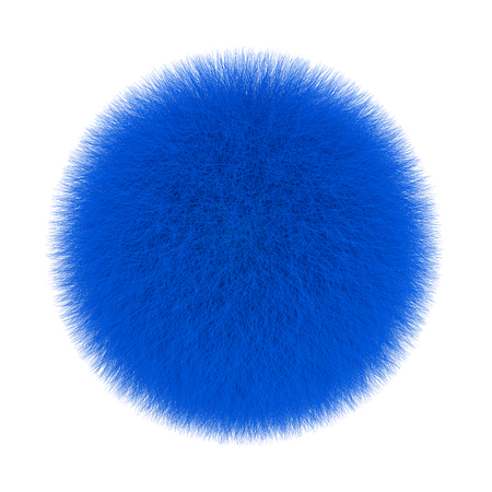 Blue Fur Hair Ball on a white background. 3d Rendering