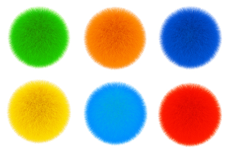 Colored Fur Hair Balls on a white background. 3d Rendering  Stock Photo