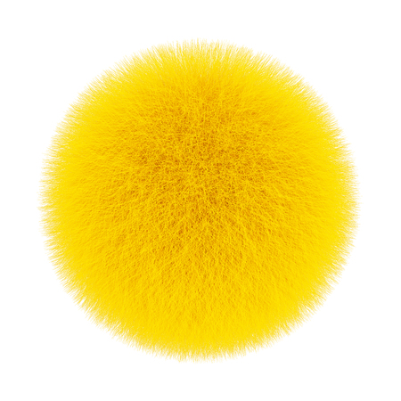 Yellow Fur Hair Ball on a white background. 3d Rendering
