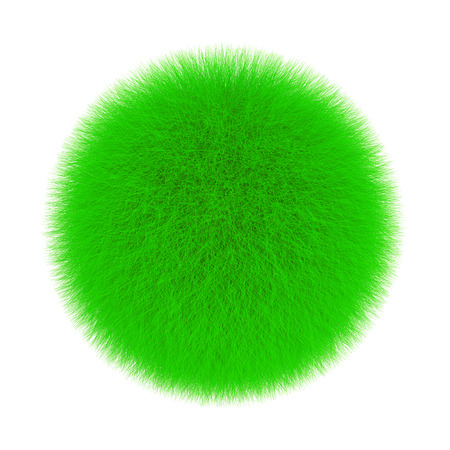 Green Fur Hair Ball on a white background. 3d Rendering