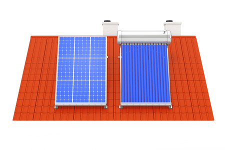 Solar Water Heater and Solar Panel Installed on a Red Roof on a white background. 3d Rendering Stockfoto - 96325861