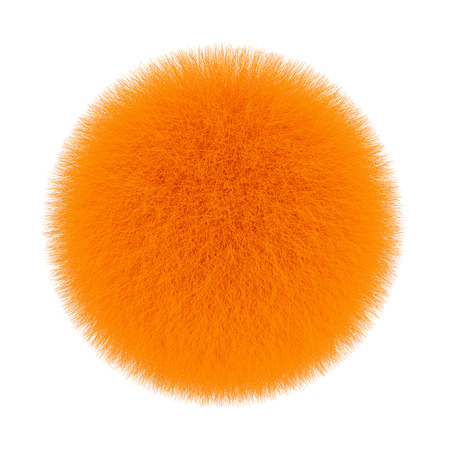 Orange Fur Hair Ball on a white background. 3d Rendering  Stock Photo