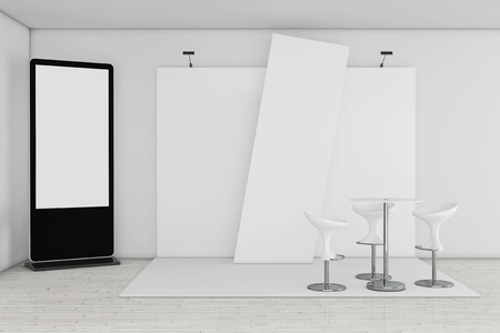 Blank Trade Show LCD Screen Stand as Template for Your Design near Trade Commercial Exhibition Stand extreme closeup. 3d Rendering