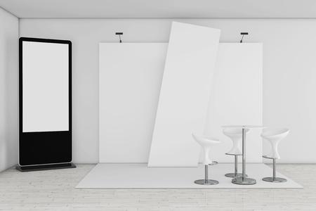 Leerer Messe-LCD-Bildschirm-Stand als Schablone für Ihr Design nahe Handelsausstellungs-Stand-Extremnahaufnahme. 3D-Rendering Standard-Bild