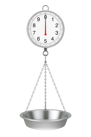 Hanging Weight Scale with Chain and Empty Dish on a white background. 3d Rendering