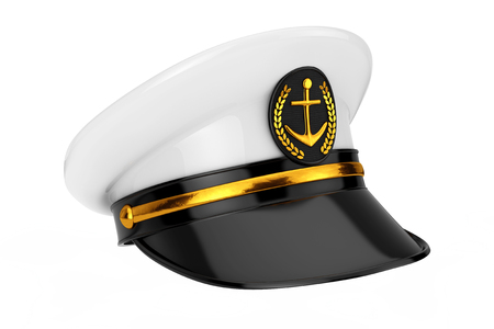 Naval Officer, Admiral, Navy Ship Captain Hat on a white background. 3d Rendering  Banque d'images