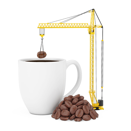 Yellow Tower Crane put Coffee Beans in Coffee Mug on a white background. 3d Rendering