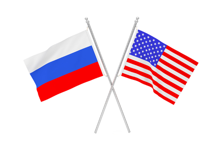 Crossed USA and Russia Flags on a white background. 3d Rendering