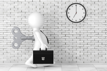 3d Businessman Person with Old Metal Windup Key in His Back in front of Brick Wall with Modern Clock extreme closeup. 3d Rendering  Stock Photo