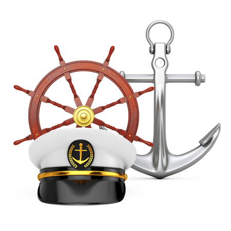 Naval Officer, Admiral, Navy Ship Captain Hat near Antique Vintage Brass Compass and Nautical Anchor on a white background. 3d Rendering