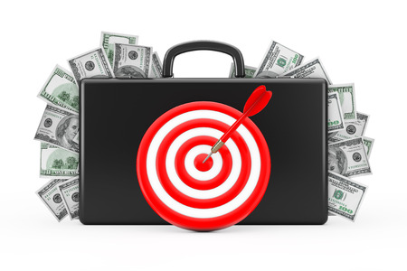 Black Suitcase Full of Hundred Dollars with Target as Darts on a white background. 3d Rendering