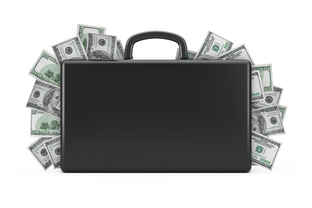 Black Suitcase Full of Hundred Dollars on a white background. 3d Rendering  Stok Fotoğraf
