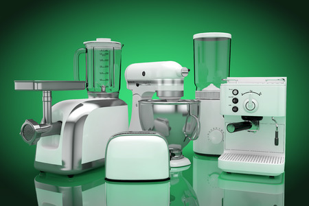 Kitchen Appliances Set. White Blender, Toaster, Coffee Machine, Meat Ginder, Food Mixer and Coffee Grinder on a green background. 3d Rendering