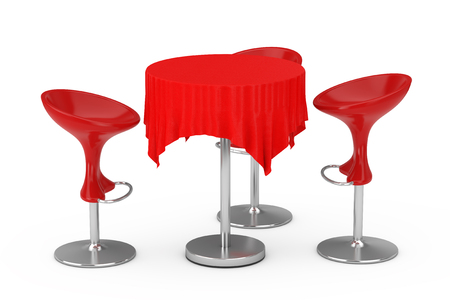Red Modern Bar Stools with Table and Tablecloth on a white background. 3d Rendering