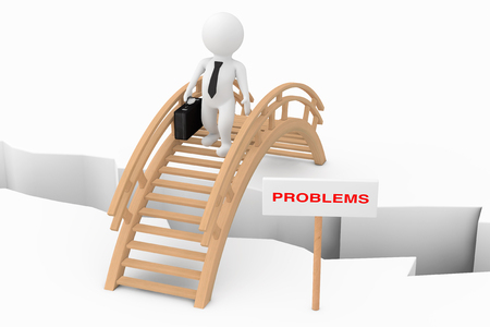 Problems Solving Concept. 3d Person Businessman Crossing Bridge with Problem Sign on a white background. 3d Rendering